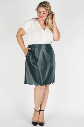 Hunter Green Vegan Scalloped Skirt - Plus Size