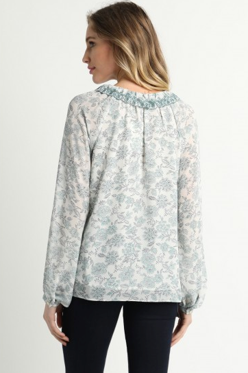 Green Embroidered Printed Blouse
