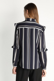 Striped Ruffle Sleeve Button Up