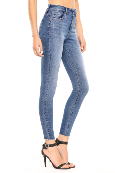 High- Rise Straight Cut Ankle Skinny Jean- Medium Wash