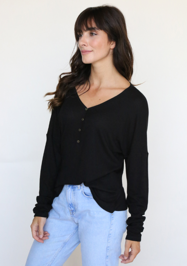 Black Long Sleeve Henley Top