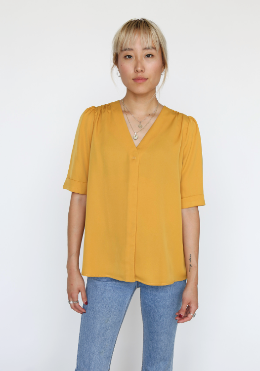Mustard V-Neck With shirring on Shoulder