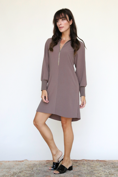 Taupe Zip Front Dress