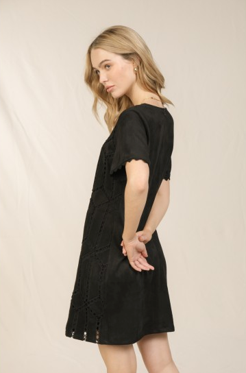 Black Faux Suede Shift Dress