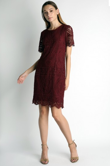 Burgundy Lace Short Sleeve dress