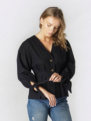 Black Blouse with Tie Detail Sleeve