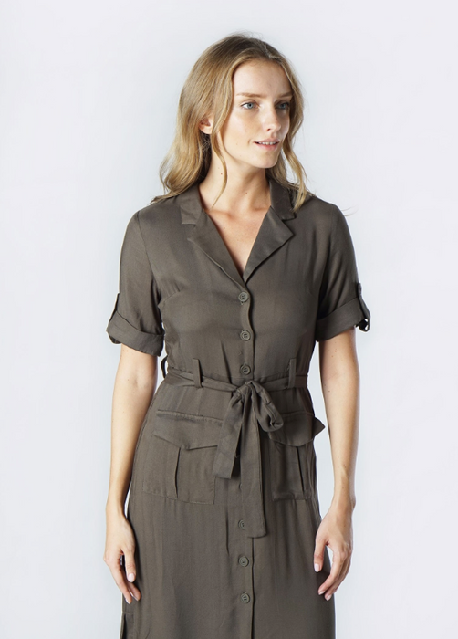 Olive Short Sleeve Midi Dress