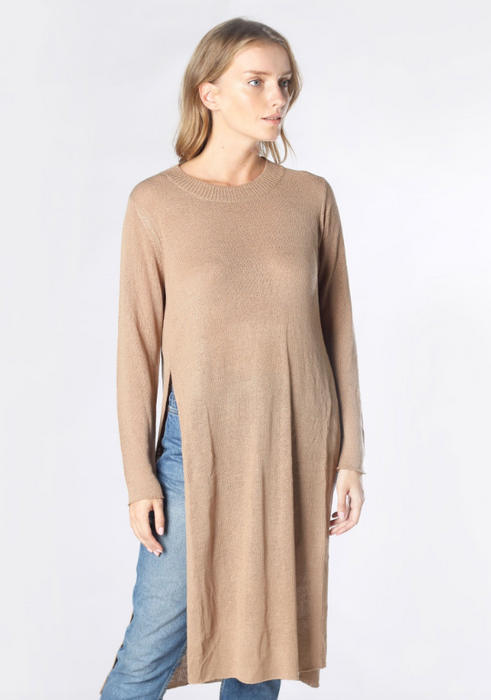 Flowy Sweater with Side Slit - Mocha