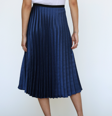 Navy Pleated Metallic Skirt