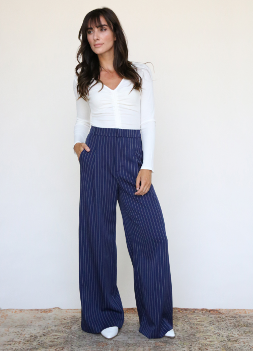 Navy Pinstripe Wide Leg Pant With Pleat