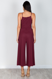 Front Knot Jumpsuit in Wine