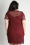 Burgundy Lace Short Sleeve Dress - Plus Size