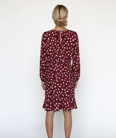 Burgundy Ruffle Hem Long Sleeve Dress