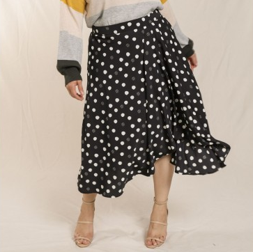 Polka Dot Butterfly Hem Skirt-Plus size