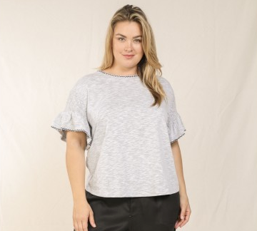 Grey Ruffle Short Sleeve Top - Plus Size