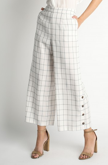 Ivory Checkered Wide Leg Pant with Button Detail