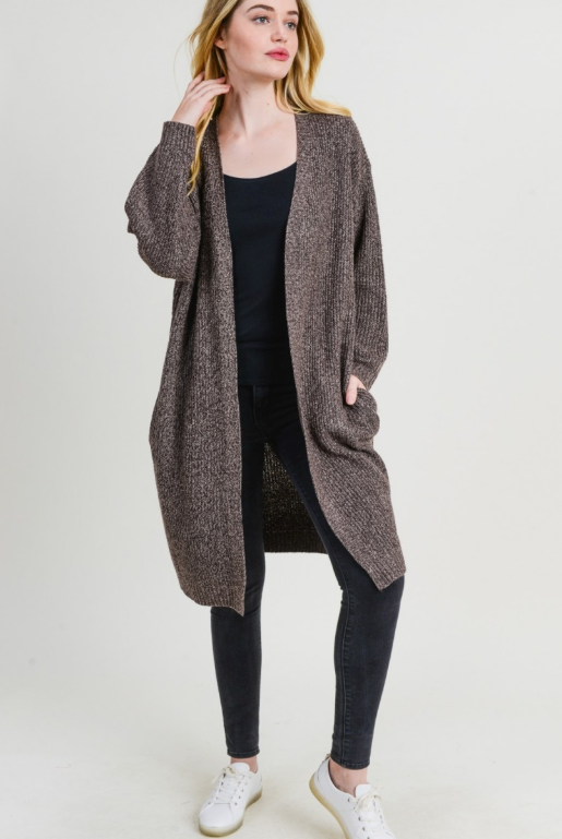 Mocha Duster Cardigan with Pockets