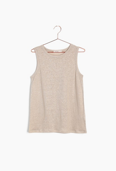 Linen Sleeveless Top in Khaki