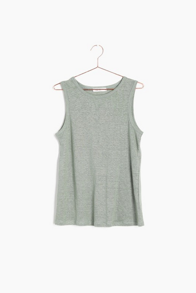 Linen Sleeveless Top in Sage