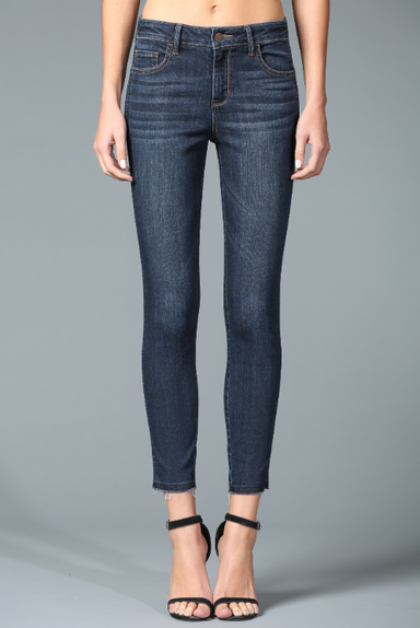 Mid Rise Crop Skinny Jean with Side Slit