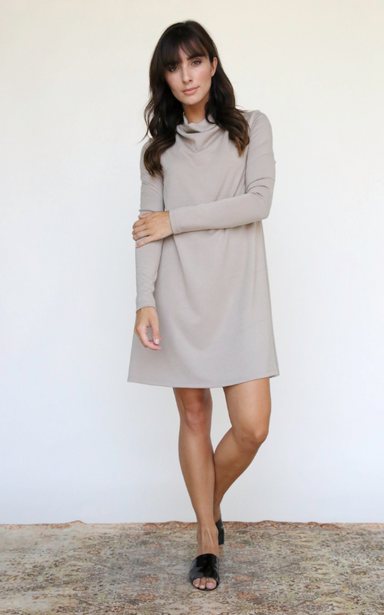 Khaki Long Sleeve Cowel Neck Dress