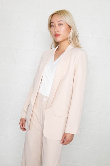 Bone Open Front Blazer with Double Pocket