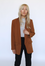 Chestnut Open Front Blazer with Double Pocket