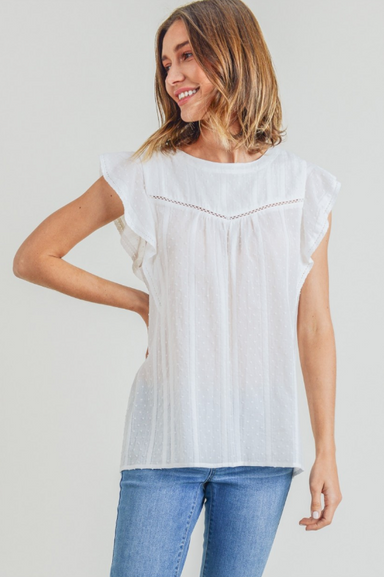 Swiss Dot Ruffle Sleeve Top