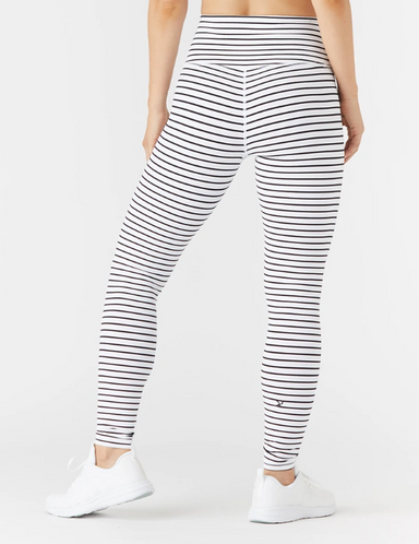 High Power Legging - White/Black Stripe