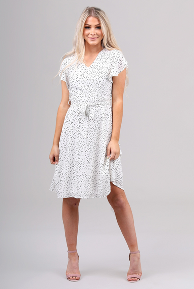 Sabrina White Polka Dot Dress
