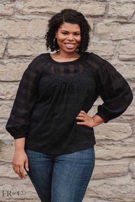 Kendra Blouse - Black - Plus Size