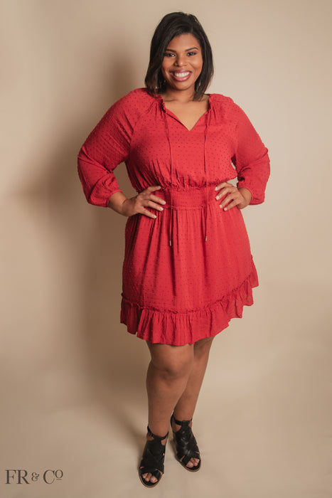Hannah Dot Ruffle Dress - Plus Size