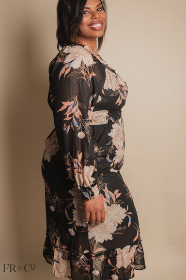 Square Neck Sheer Sleeve Midi Floral Dress - Plus Size