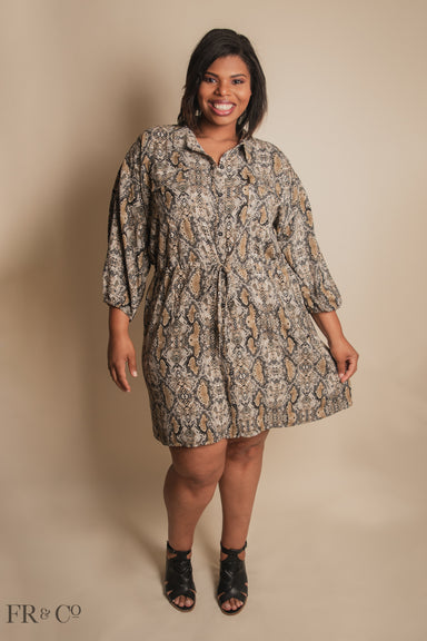 Animal Print Button Down Dress - Plus Size
