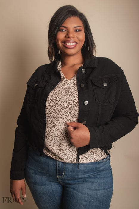 Distressed Black Jean Jacket - Plus Size