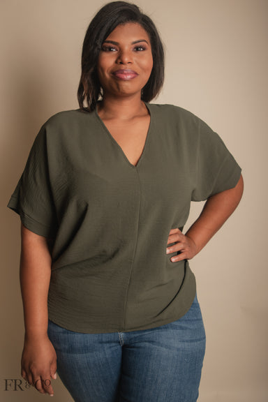 Vivian Blouse - Olive - Extended Size