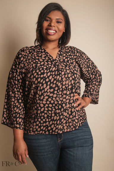 Animal Print V-Neck Blouse - Plus Size