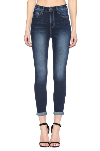 High Rise Rolled Cuff Dark Wash Skinny Jean