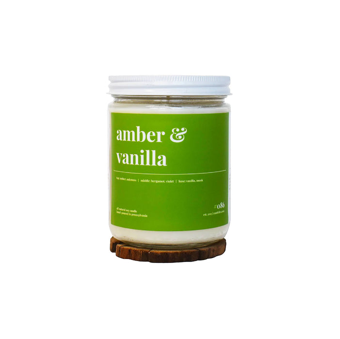 Amber and Vanilla Soy Candle - 16oz