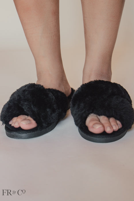 Strappy Furry Slipper - Black