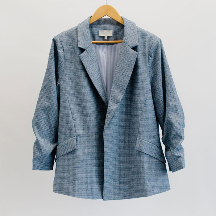 Ruched Sleeve Blazer in Blue - Plus Size