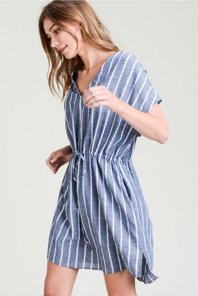 Cotton Stripe V-Neck Casual Dress