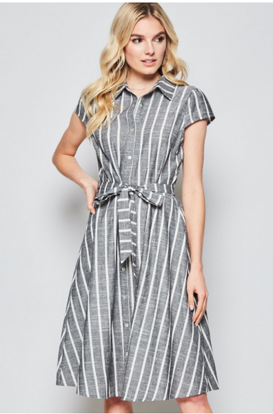 Classic Button Down Dress with Cap Sleeves