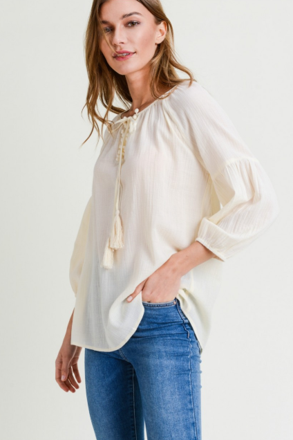 Champagne Blouse with Tassel Detail