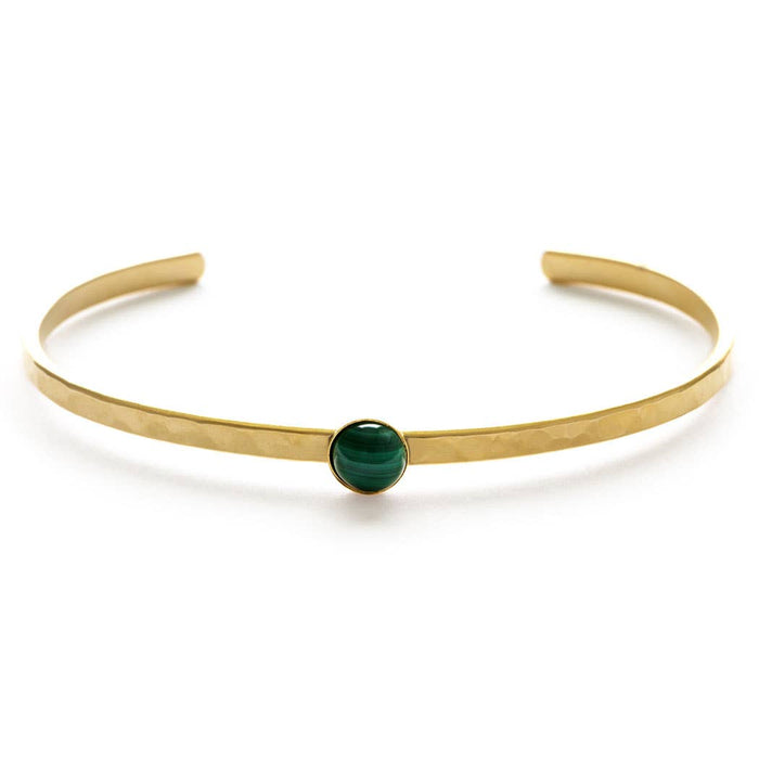 Gemstone Hammered Cuff