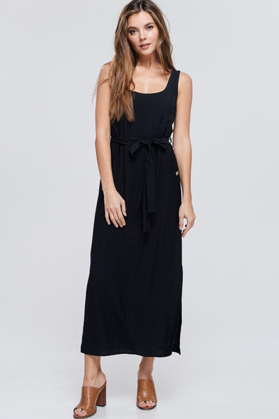 Black Tank Dress with Front Waist Tie