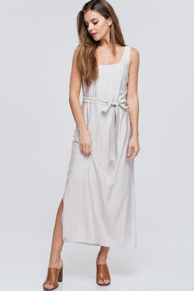 Taupe Tank Dress with Front Waist Tie