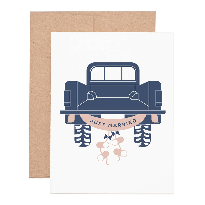 Just Married Truck Greeting Card