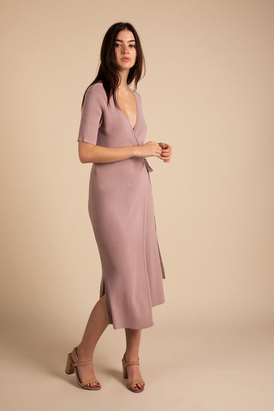 Mauve Knitted Wrap Midi Dress