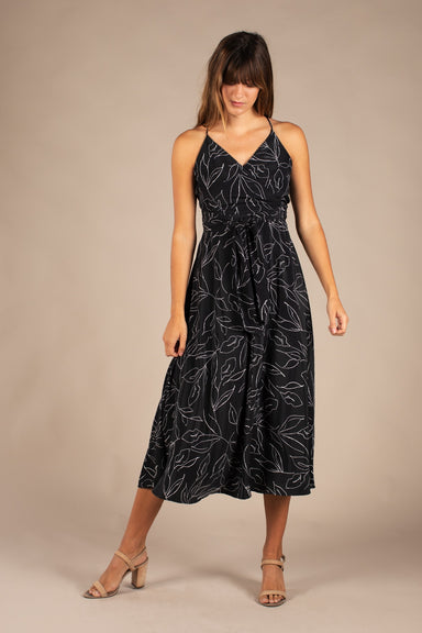 Black Leaf Sketch Print Midi Dress